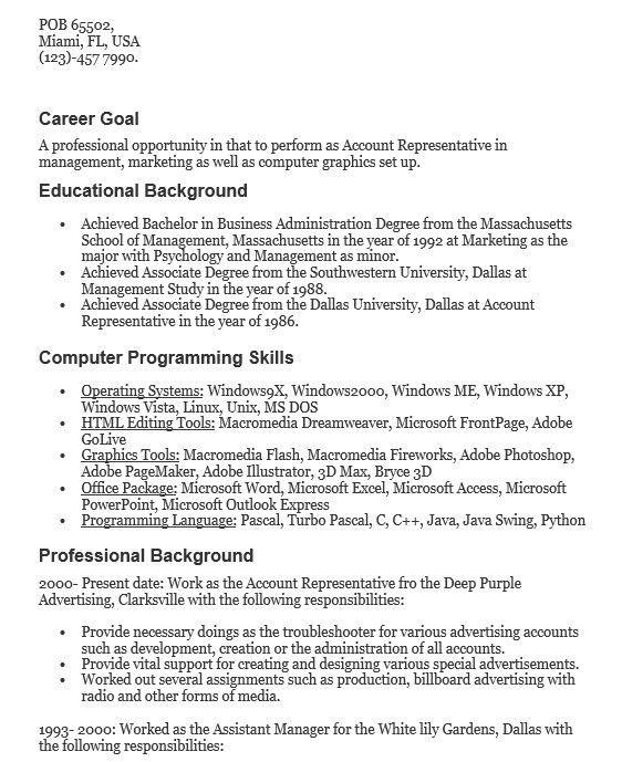 employer relations representative resume employer relations - Account Representative Resume