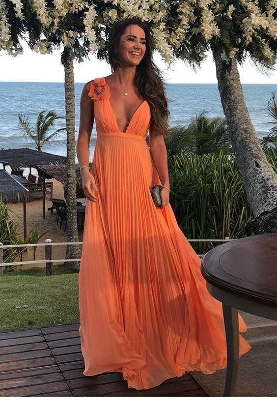 Awesome long orange dress style