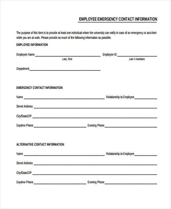 employee contact list