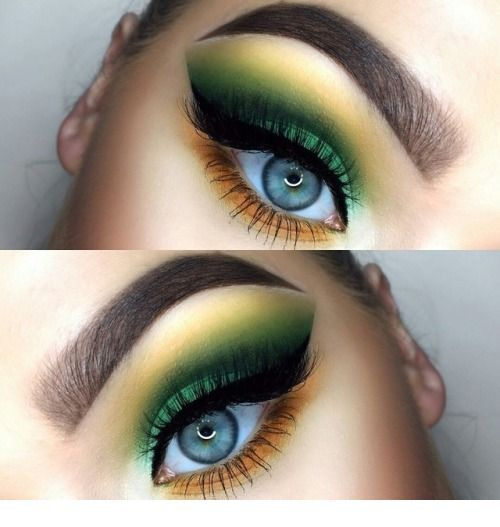 Cute green and yellow eye makeup