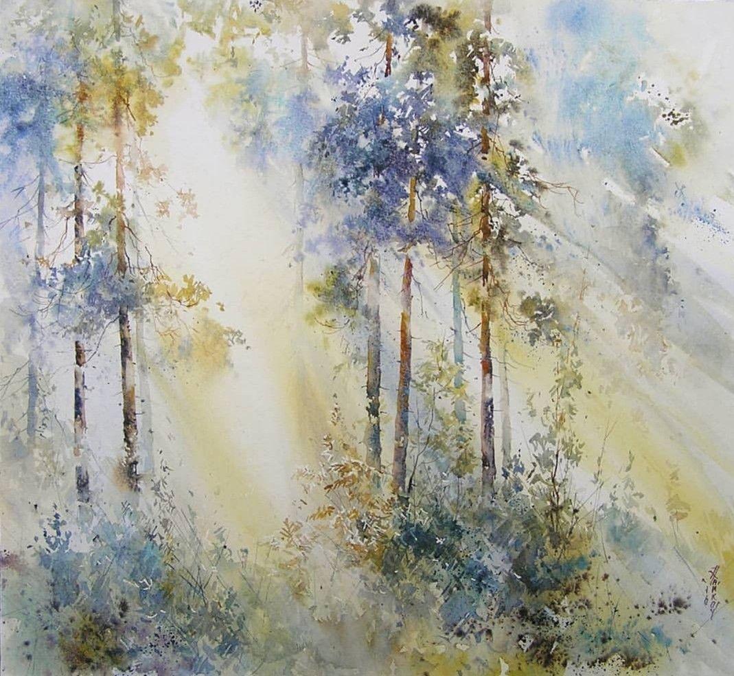 Waterfall Marsh- Original Fine Art Watercolor by Paul Oman