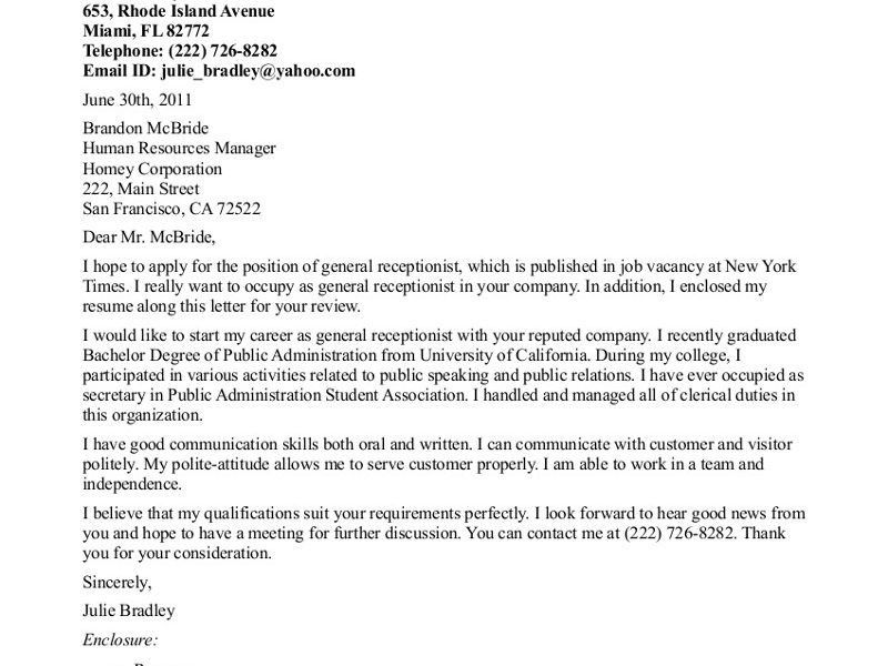Cover Letter For Receptionist Examples Cover Letter For A - cover letter for receptionist