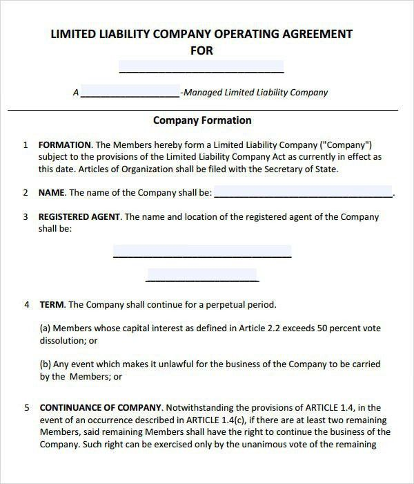 Operating Agreement Template Llc Operating Agreement Sample - partnership agreement free template