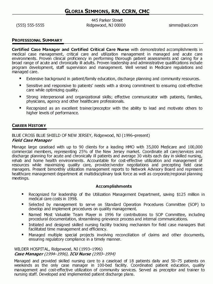 Sample Nurse Manager Resume Nurse Manager Resume Cv Job - case management job description