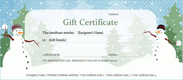 Free Holiday Gift Certificate Templates Free Printable Christmas - certificate template blank
