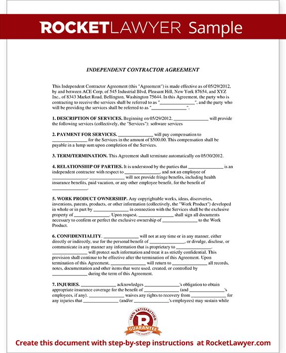Simple Contract Agreement Form Independent Contractor Agreement - independent contractor agreement form