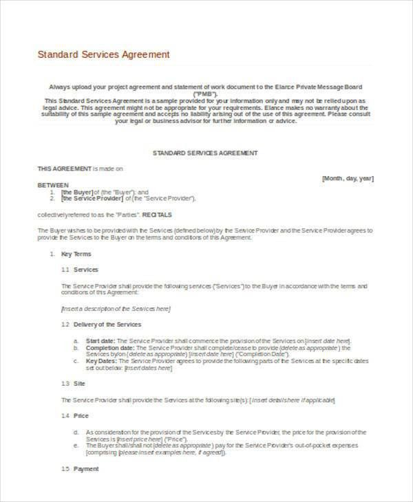Format Of Service Agreement 14 Service Agreement Templates Free - agreement form sample
