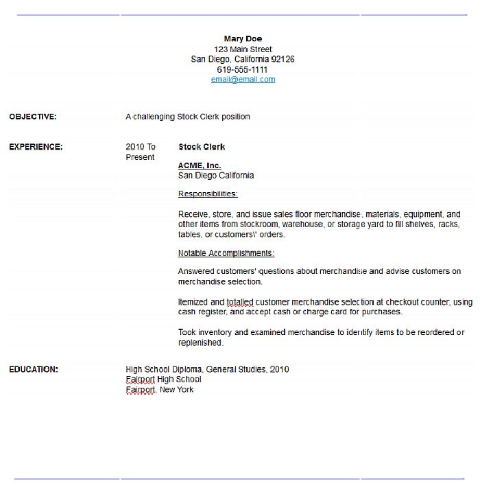 Grocery Stock Clerk Sample Resume] Clerical Resume Templates ...