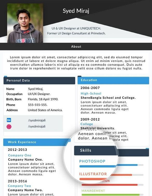 Resume Template Website 50 Best Html Resume Cv Vcard Templates - fashion resume templates