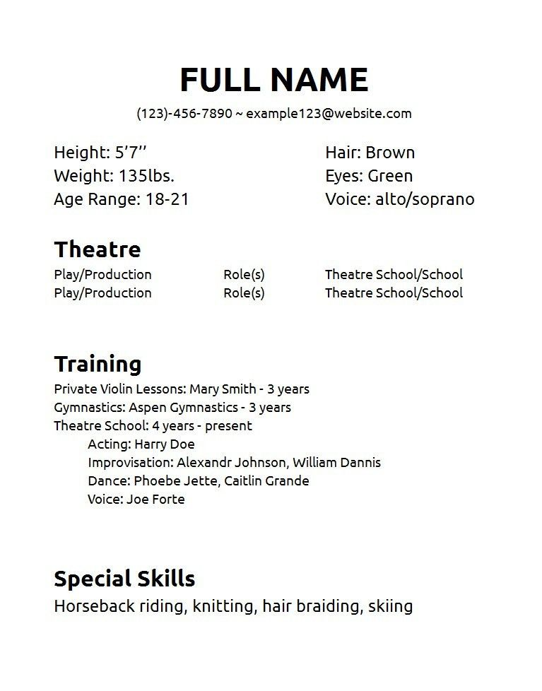 Theatre Resume Format 10 Acting Resume Templates Free Samples - musical theatre resume examples