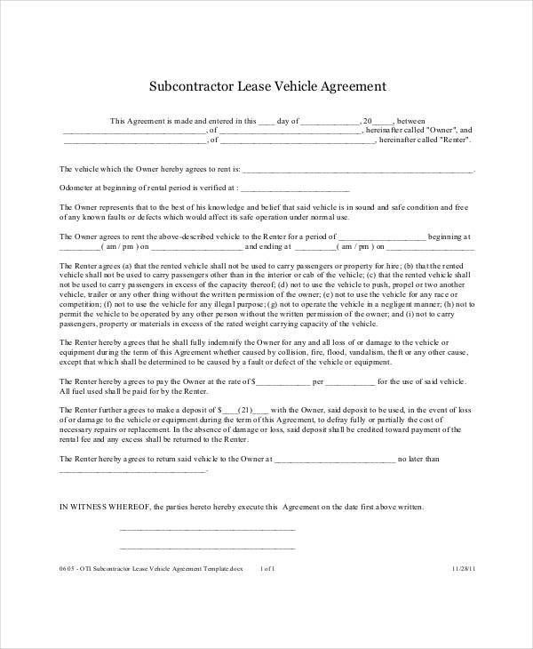 Simple Lease Agreement Free 15 Basic Rental Agreement Templates - sample vehicle lease agreement