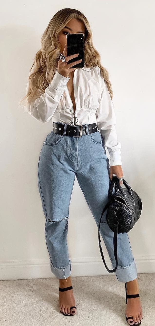white long-sleeved shirt and blue denim jeans #spring #outfits