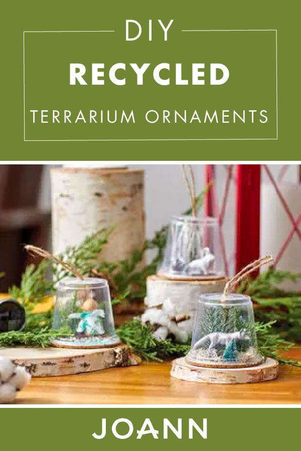 Who says ornaments are just for Christmas? These cute DIY Recycled Terrarium Ornaments from JOANN are a home decor craft that look amazing and can stay out all year long!