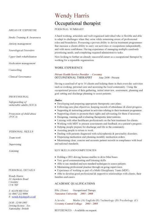 Occupational Therapy Resume Template Unforgettable Occupational Massage  Therapist Resume Examples