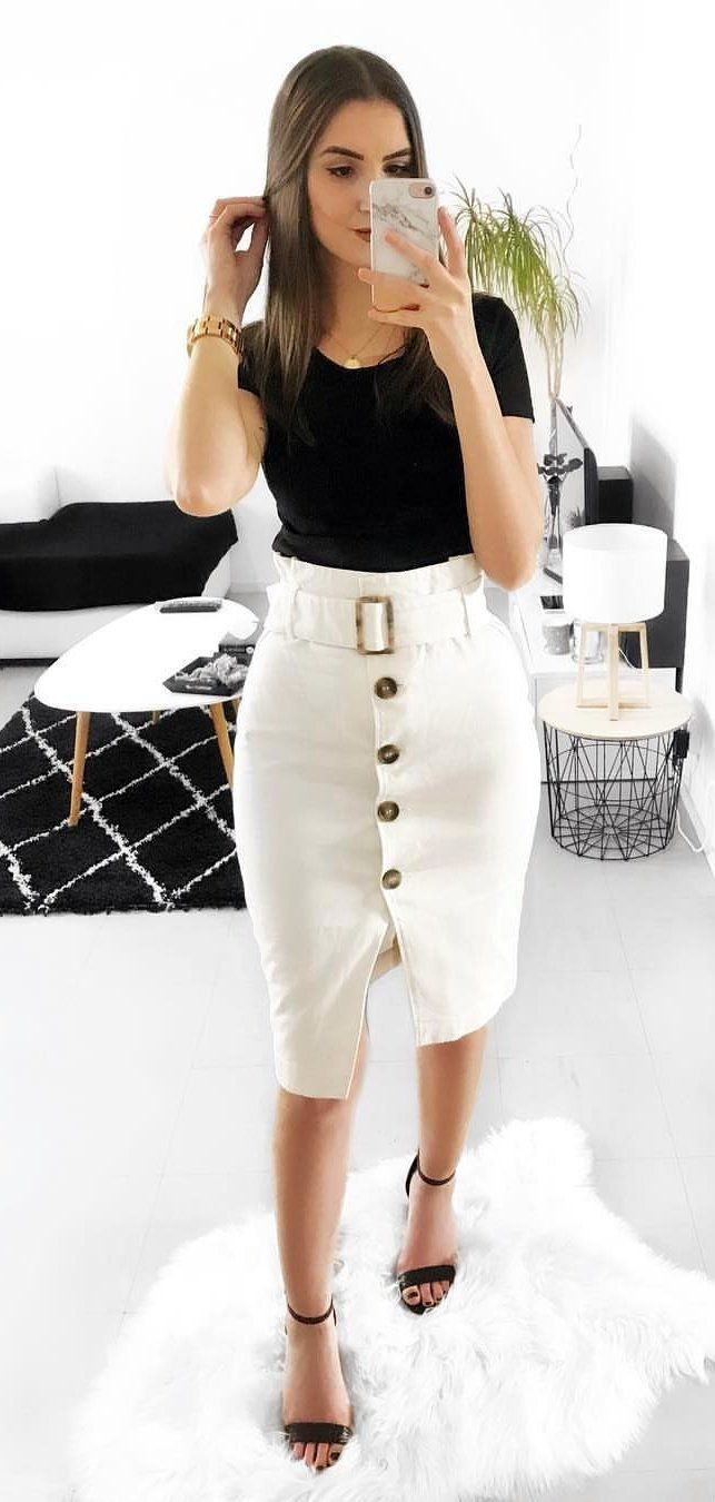 black shirt and white skirt #spring #outfits