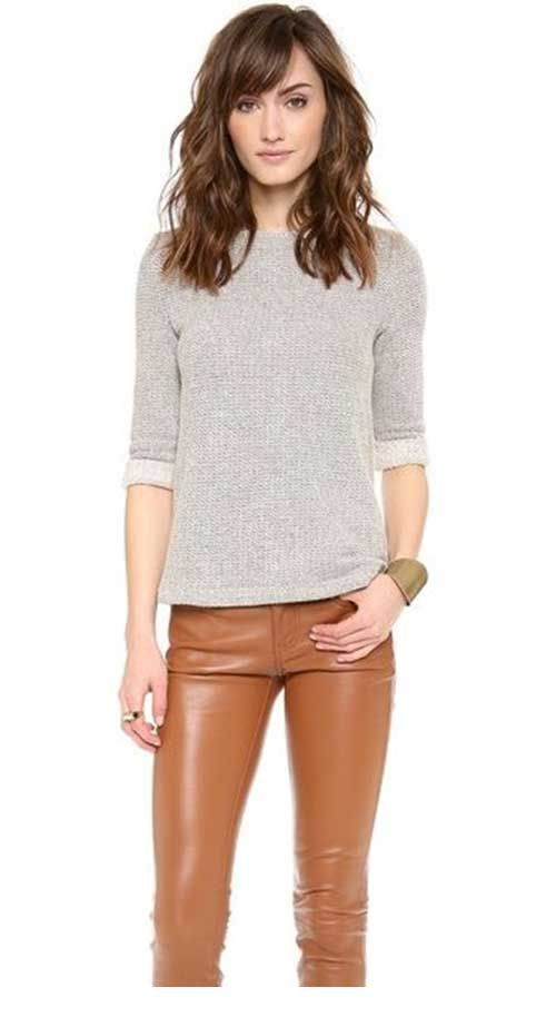 Cute grey blouse and brown leather pants