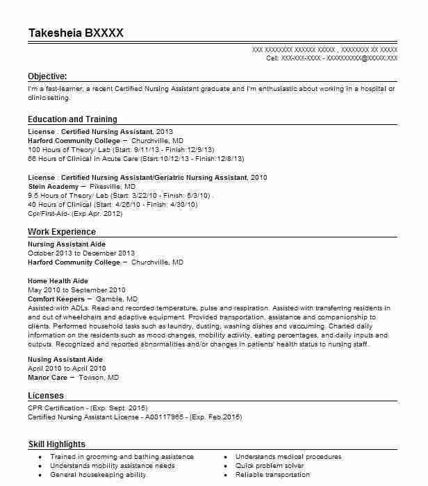 Nurse Assistant Resume Unforgettable Nursing Aide And Assistant - home health aide resume sample