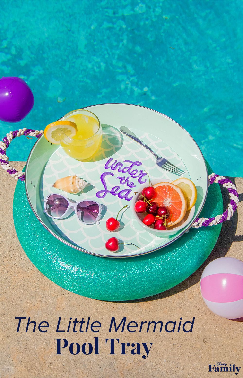 """Turn a regular tray into a floating buffet! Have a blast making a splash in your own backyard with the help of this Little MermaidPool Tray you can make for your Disney-loving family. All you'll need is a round, lightweight tray, a pool noodle, and lots of mermaid flair to create this fun floater with your kiddo! Click to """"sea"""" the DIY Little Mermaid tutorial."""