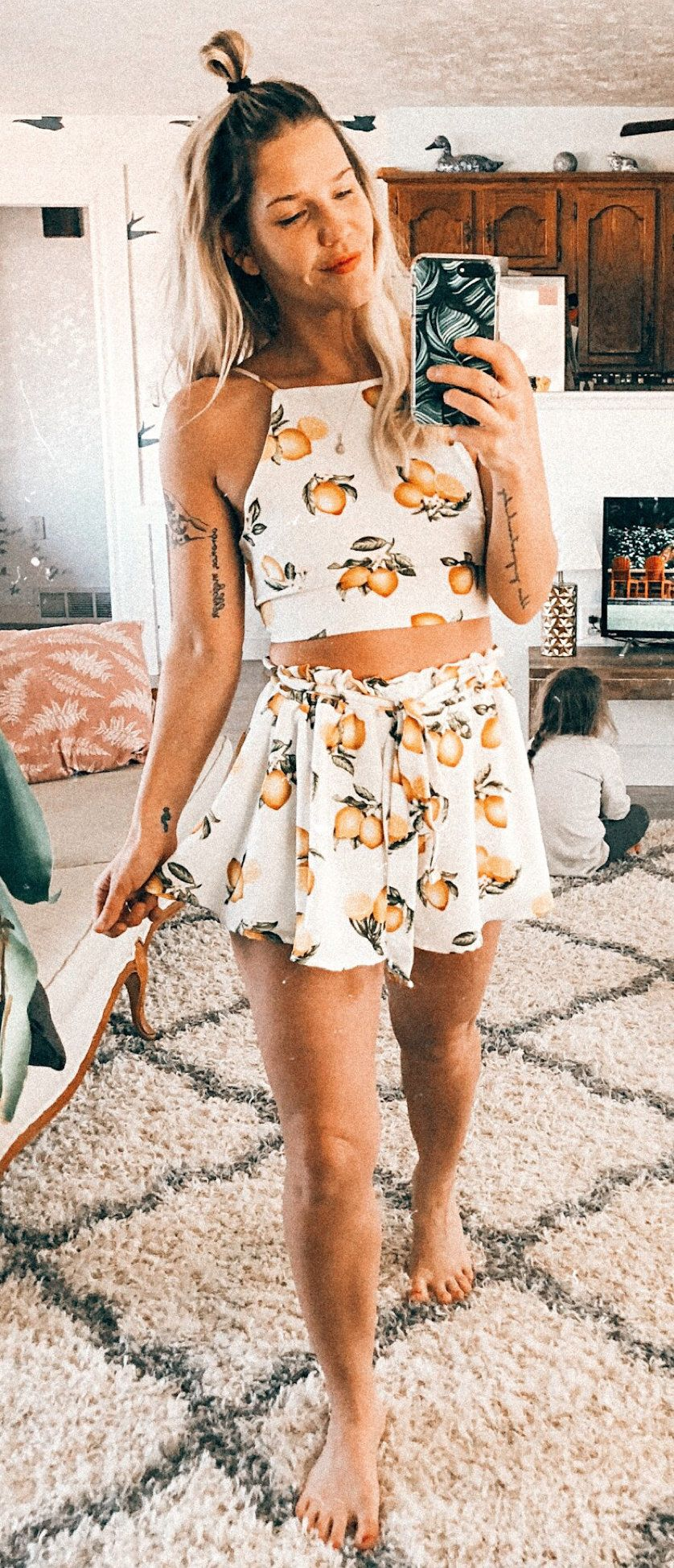 white and orange sleeveless crop top with matching skirt set #spring #outfits