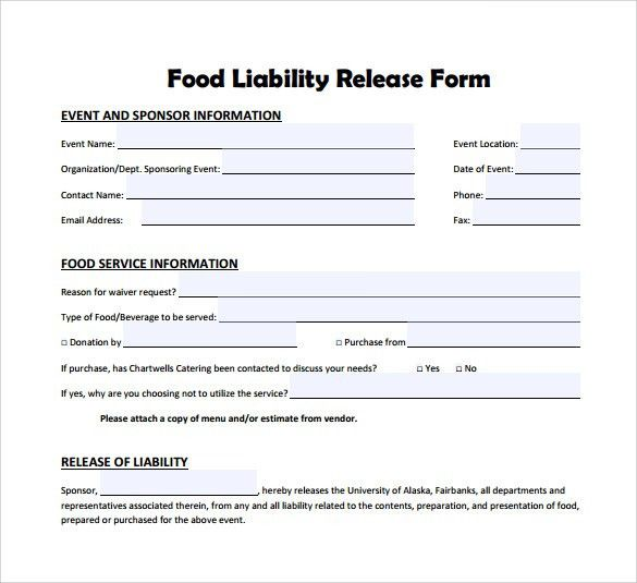 Release Of Liability Template Free Printable Sample Release And - free release of liability form