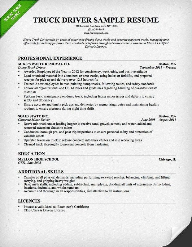 delivery driver resume examples