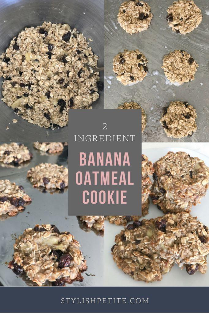 2 ingredient, healthy, gluten free, vegan Banana Oatmeal raisin cookie recipe