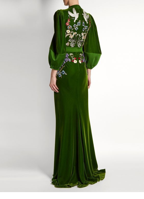 Long green velvet dress with print