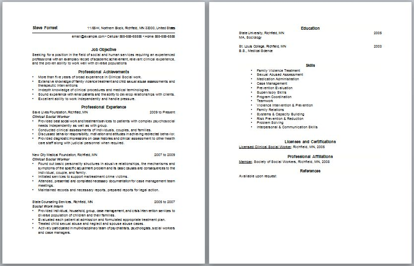 Resume Objectives For Social Workers Printable Sample Social Work - social worker resume objective