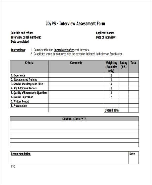 Job Interview Assessment Template  GetpaidtotakesurveyonlineInfo