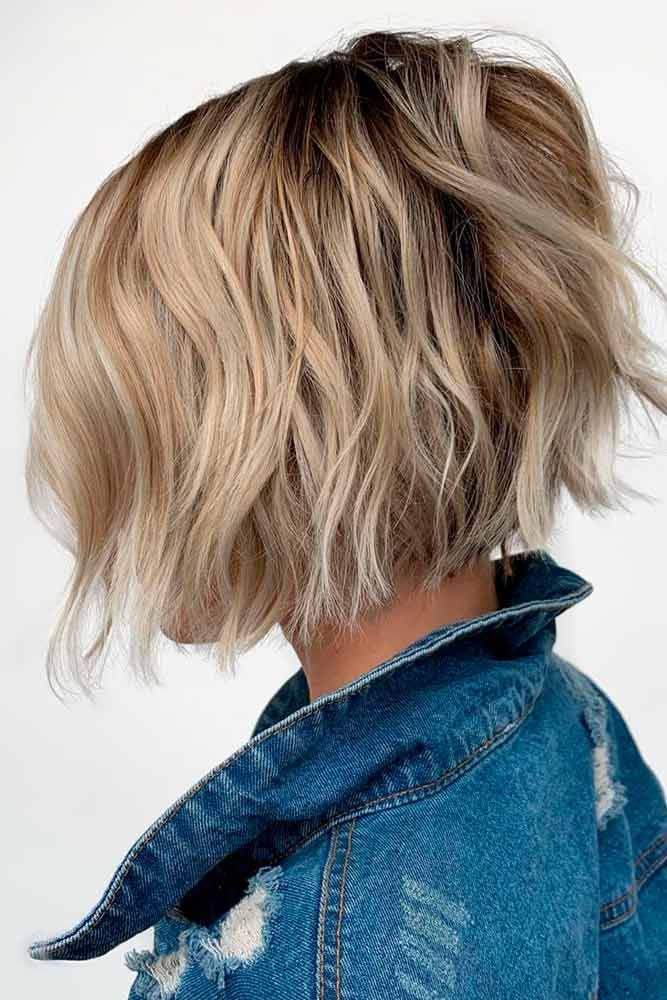 Wavy A-line Bob #blondehair #wavyhairstyles ★ Bob haircuts will never lose their popularity. Whether short or long, angled or stacked, straight or wavy, a bob looks awesome. #glaminati #lifestyle #bobhaircuts