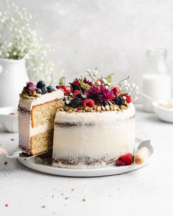 ... pistachio cake with honey rosewater buttercream ...