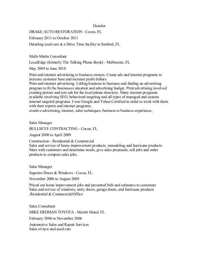Car Detailer Resume Detailer Resume Samples Visualcv Resume - auto sales resume