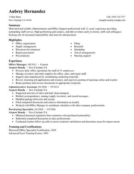 Ordinaire Resumes For Office Jobs Best Office Assistant Resume Example