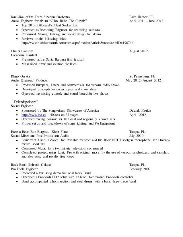 Audio Engineer Sample Resume] Audio Engineer Resume Sound ...