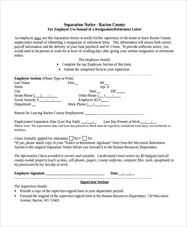 Separation Notice Template Sample Separation Notice Template 8 - notice form in word