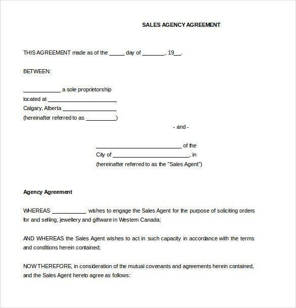 Agreement Between Two Parties Template Sample Contract Agreement - sales agent contracts
