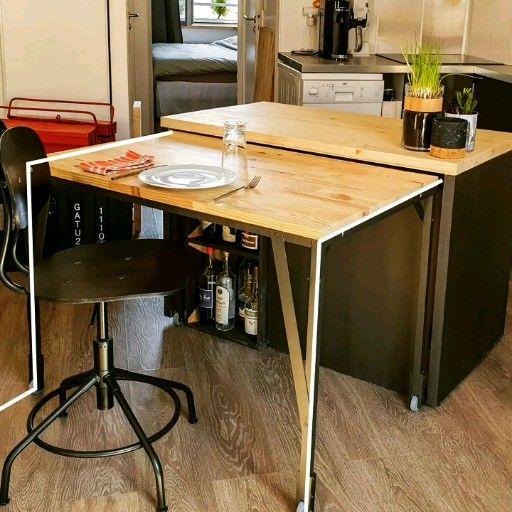 Ilot Avec Table: Table Sur Roulette En Aluminium Noir Avec Plateau Pin