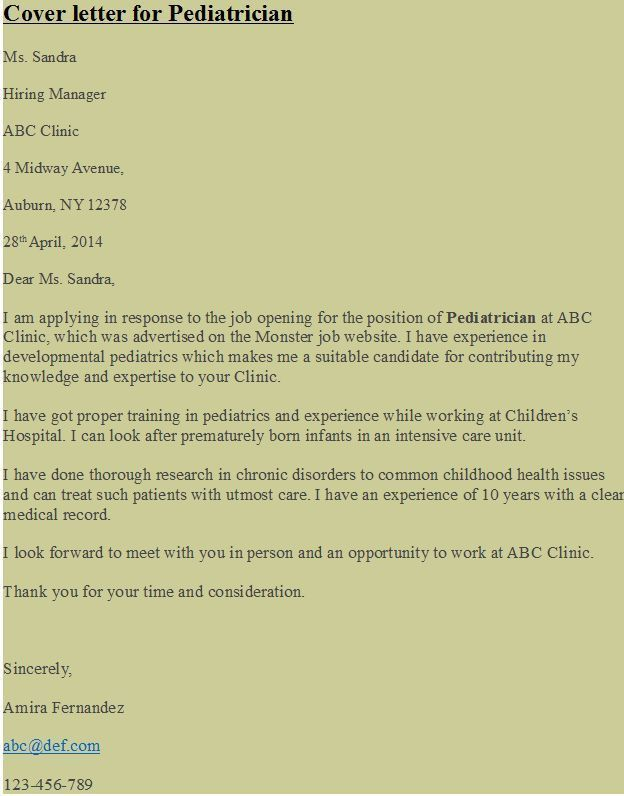 Cover Letter For Pediatrician Example Of Pediatrician Cover Pediatric  Doctor Cover Letter .