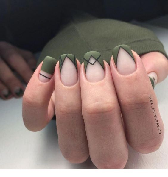 Cool olive nails design