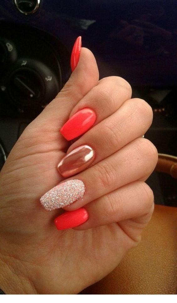 Sweet coral gel nails