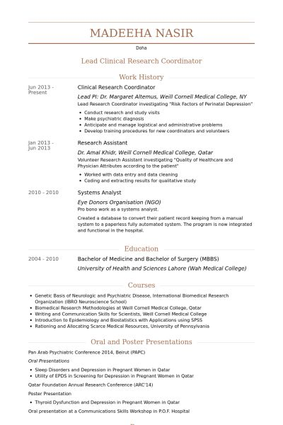 Clinical Research Coordinator Resume Clinical Research - clinical research resume