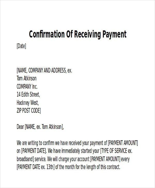 receipt for payment received