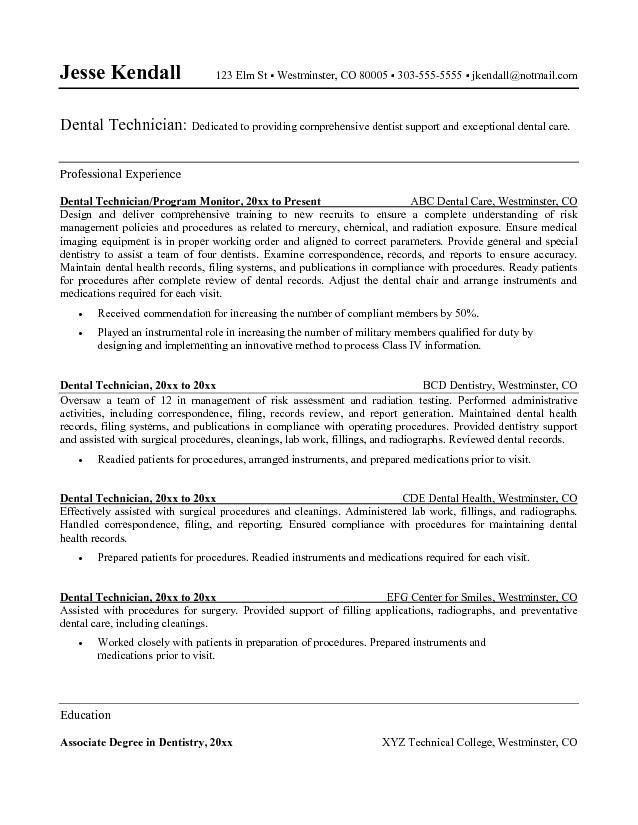 Dental Technician Resume Sample Application Letter For Technician - dental resume template