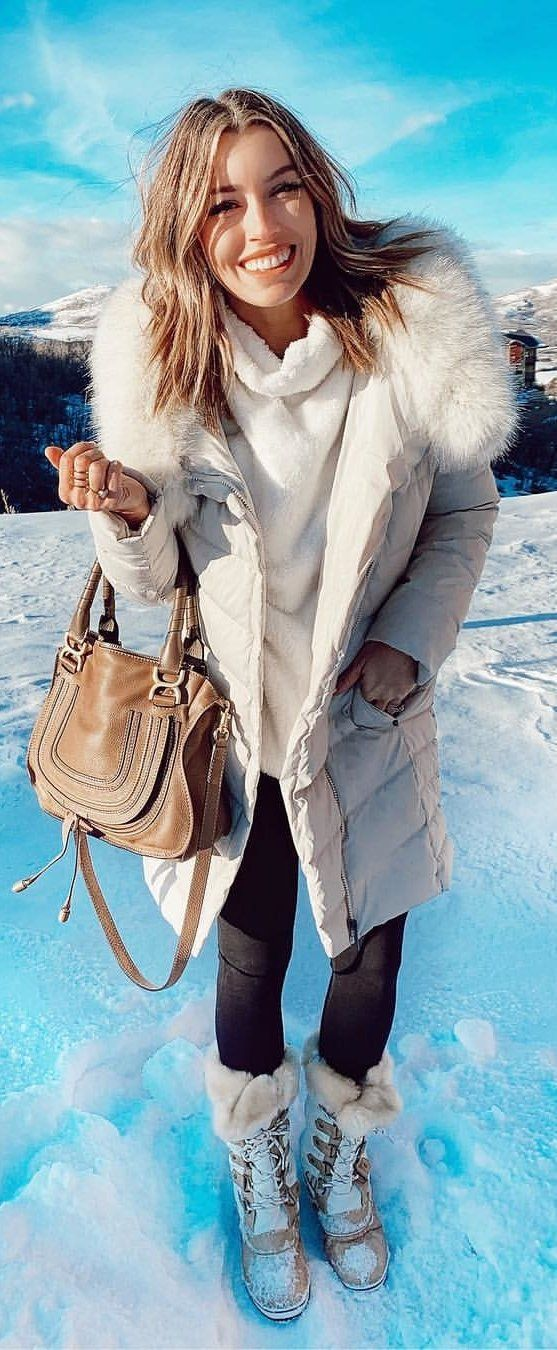 white fur lined zip-up bubble coat