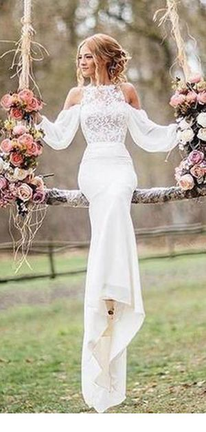 Dream long wedding dress with some lace