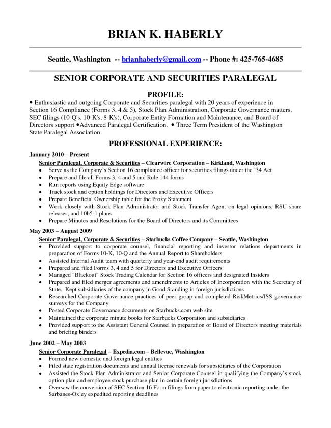 paralegal resume objective examples