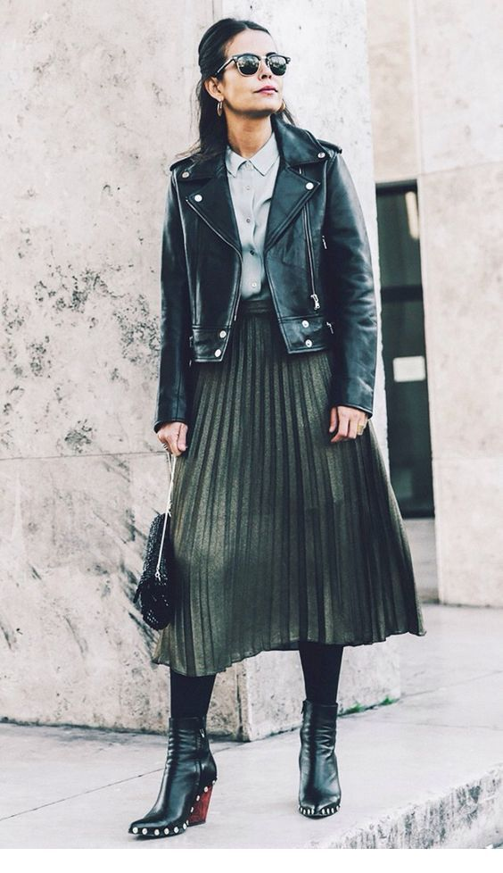 Rock style with leather jacket and skirt