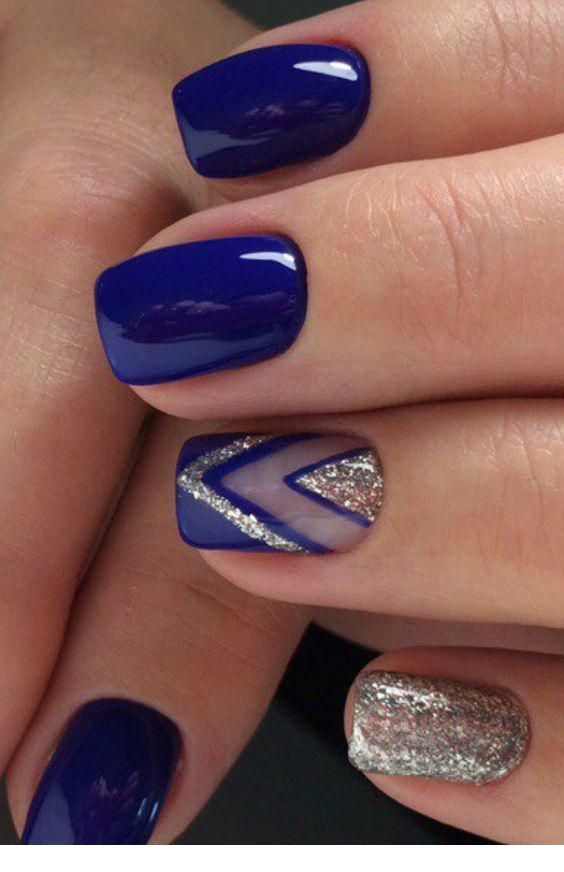 Nice navy nails with some glitter