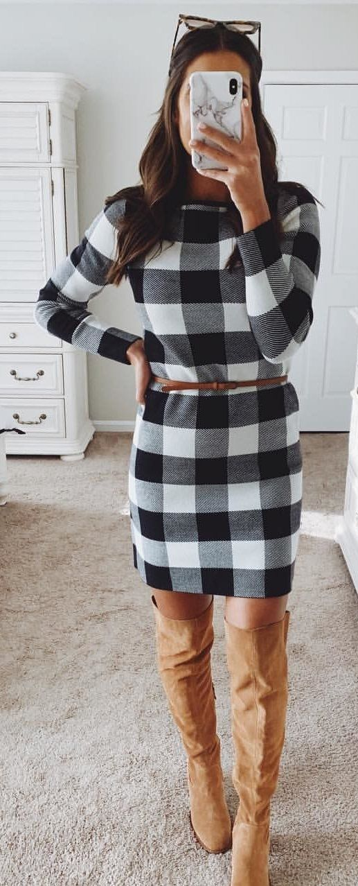 gray, black, and white plaid long-sleeved midi dress