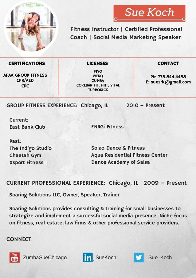 Group Fitness Instructor Resume Sample  LiveCareer